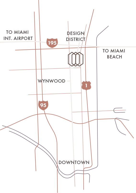 Map of Miami showing the location of Gio, Design District, Wynwood, and Downtown Miami