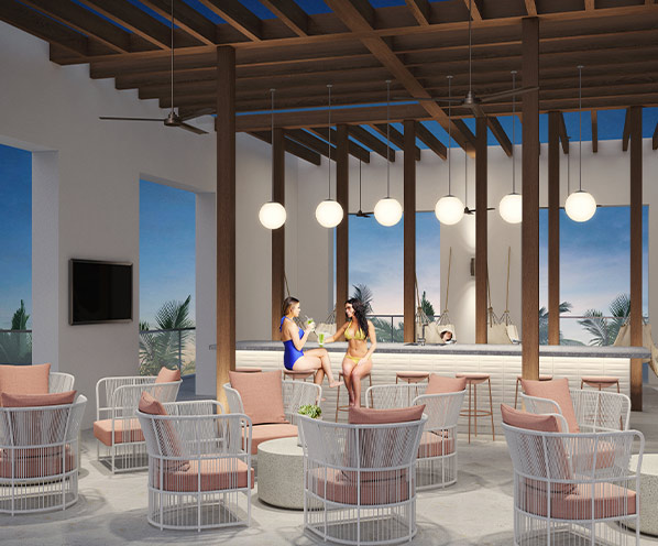 A rendering of Gio Midtown's cabana