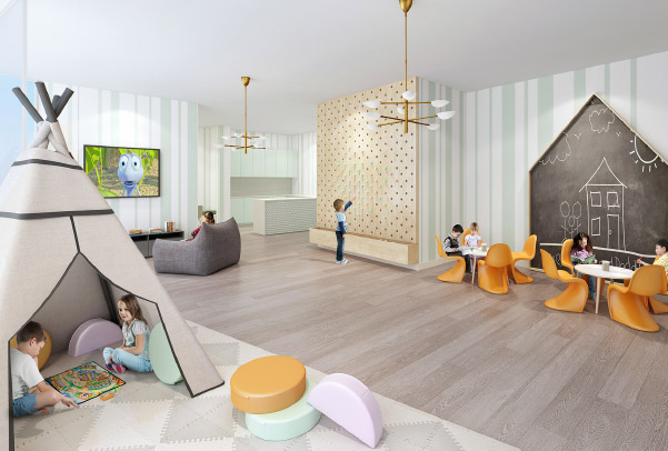 A rendering of Gio Midtown's family lounge