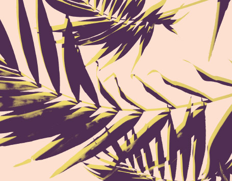 Graphic purple, pink, and yellow image of a palm leaf