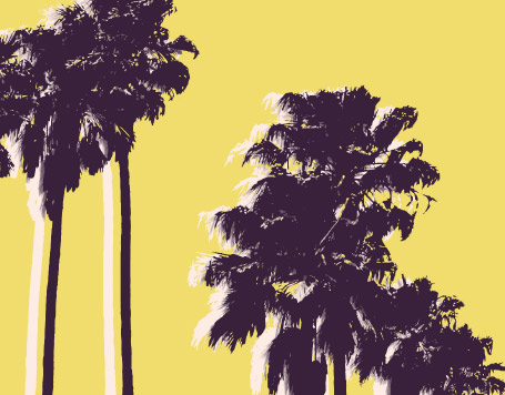 Graphic purple and yellow image of palm trees