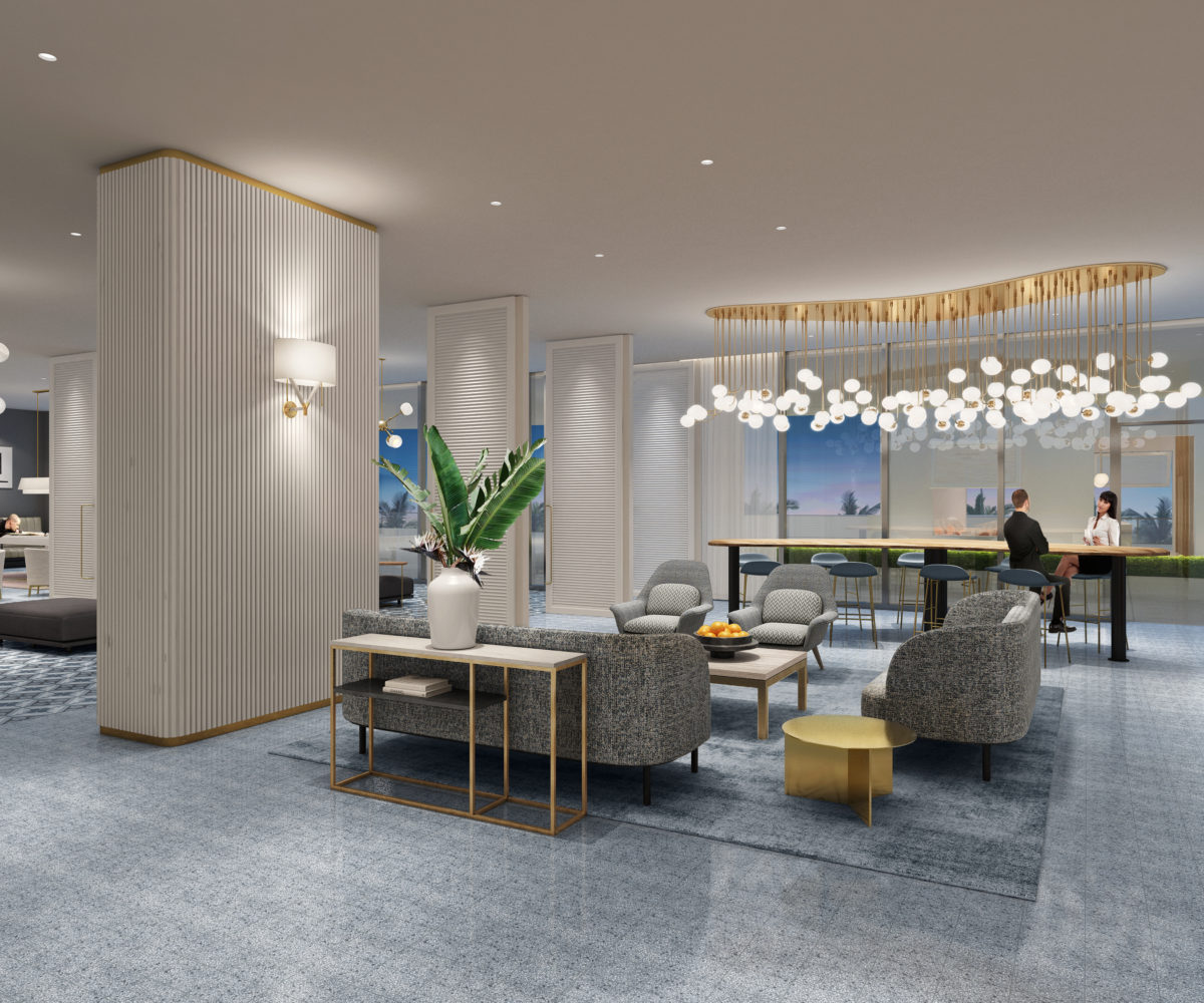 A communal table, elegant lighting, and comfortable seating in our 2nd floor resident lounge.