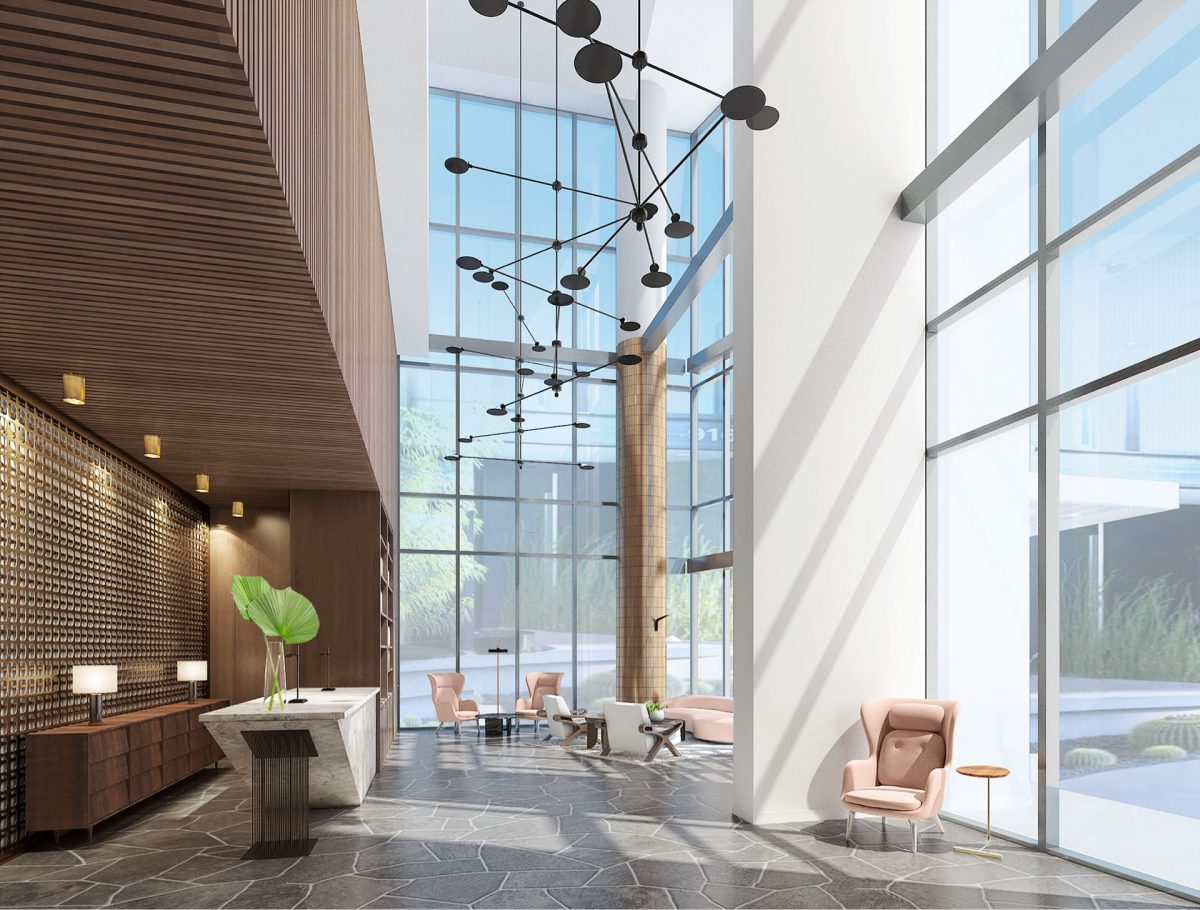 Our elegant lobby with its soaring ceilings and mid-century modern aesthetic.