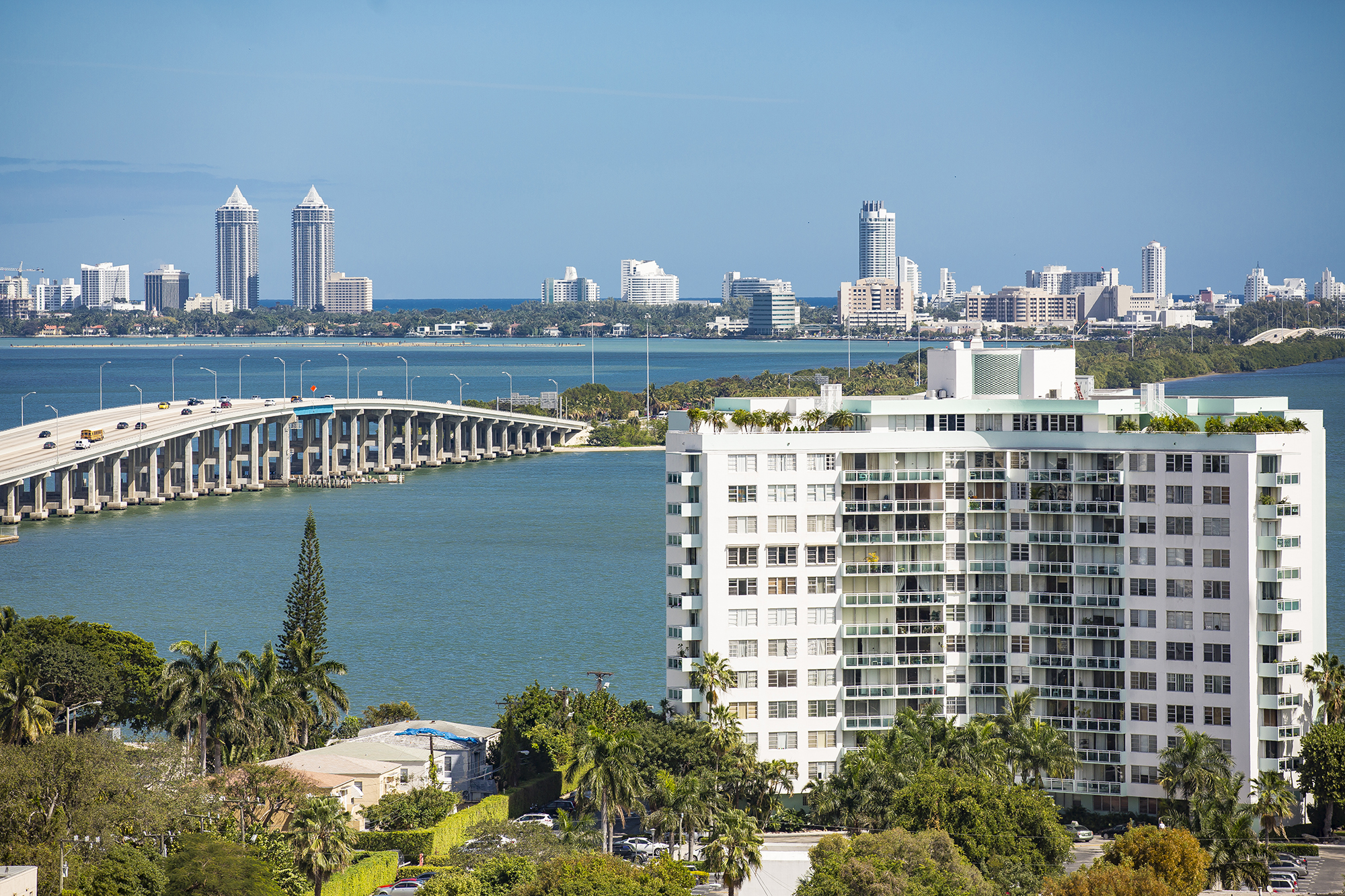 Views of Biscayne Bay and the Midtown Miami skyline.